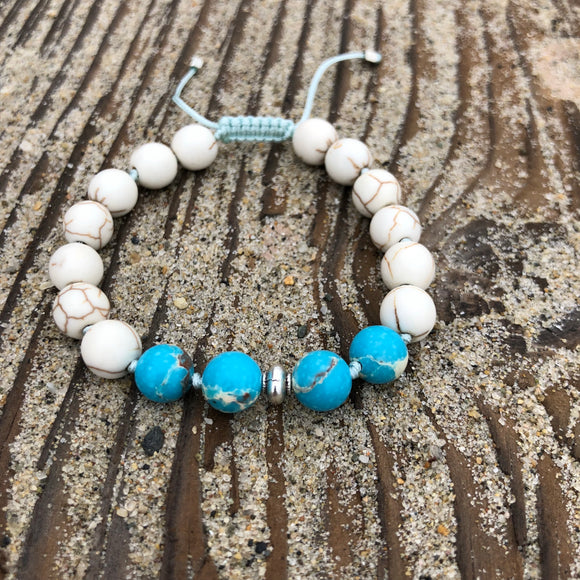 White Turquoise & Sea Sediment Jasper 8mm Adjustable Beaded Bracelet with Silver Accents