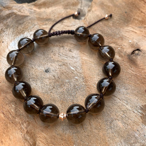 Smokey Quartz Adjustable Beaded Bracelet 10mm