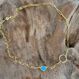 Silver - Paperclip Blue Heart Necklace Adjustable