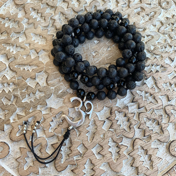 Lava & Black Onyx Mala with OM Guru Bead