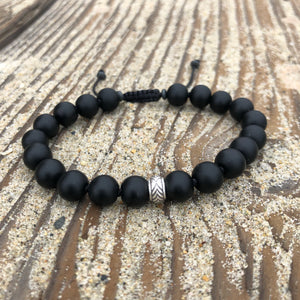 Matte Black Onyx 8mm Adjustable Beaded Bracelet with Silver Accents
