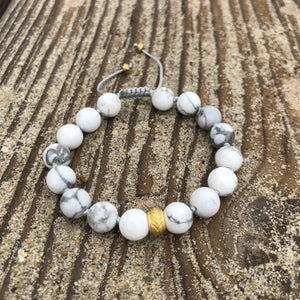 Howlite 8mm Adjustable Beaded Bracelet with Gold Accents, also available with Silver Accents