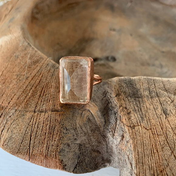 Clear Quartz Ring in Rose Gold