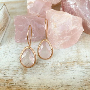 Rose Quartz Earrings in Rose Gold