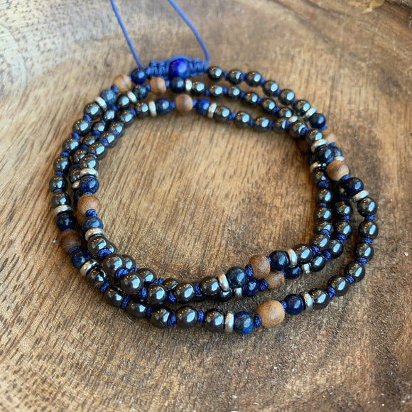 Hematite, Lapis Lazuli and Agarwood Adjustable Mala