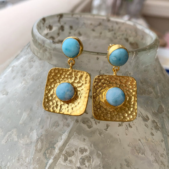 Silver - Square Larimar Earrings