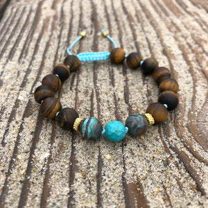Matte Tiger's Eye, Ocean Jasper & Turquoise 8mm Adjustable Beaded Bracelet with Gold Accents