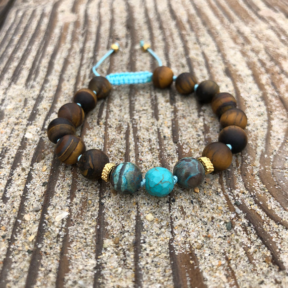Bracelet - Matte Tiger's Eye, Ocean Jasper and Turquoise