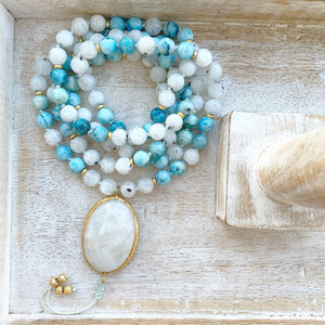 Moonstone and Hemimorphite Mala with Moonstone Guru Bead