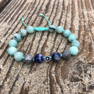 Amazonite, Picasso Jasper & Sodalite 8mm Adjustable Beaded Bracelet with Eye of Protection with Silver Accents
