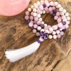 Rose Quartz, White Turquoise & Amethyst Mala with Plumeria Guru Bead
