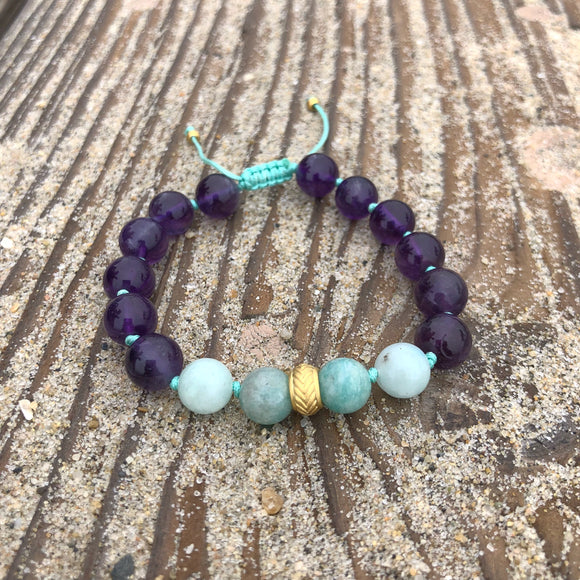 Amethyst & Amazonite 8mm Adjustable Beaded Bracelet with Gold Accents