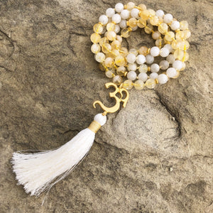 Moonstone & Citrine Mala with OM Guru Bead