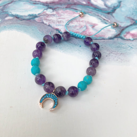 Amethyst & Turquoise 8mm Adjustable Beaded Bracelet with Gold Turquoise Crescent Moon and Gold Accents