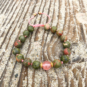 Unakite & Strawberry Quartz 8mm Adjustable Beaded Bracelet with Gold Accents