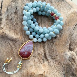 Aquamarine and Strawberry Quartz Mala with Indian Agate Guru Bead