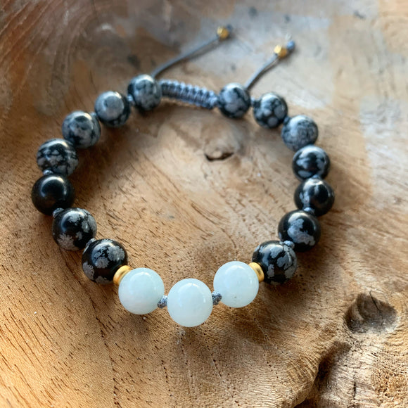 Snowflake Obsidian And Aquamarine Adjustable Beaded Bracelet