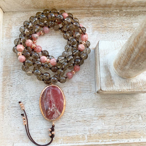 Smokey Quartz Mala with Rhodochrosite Guru Bead