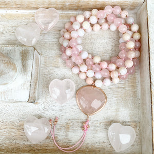 Pink Opal and Rose Quartz Mala with a Heart Shape Rose Quartz Guru Bead