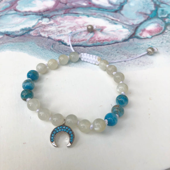 Moonstone & Blue Apatite 8mm Adjustable Beaded Bracelet with Silver and Turquoise Crescent Moon
