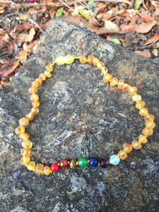 Amber Teething Necklace 7 Chakra Beads