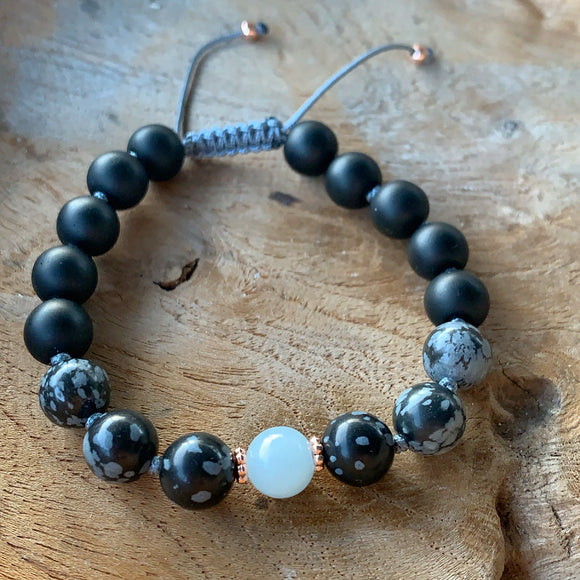 Snowflake Obsidian, Aquamarine and Matte Black Onyx Adjustable Beaded Bracelet