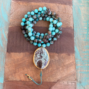 Ocean Jasper and Amazonite Mala with Ocean Jasper Guru Bead