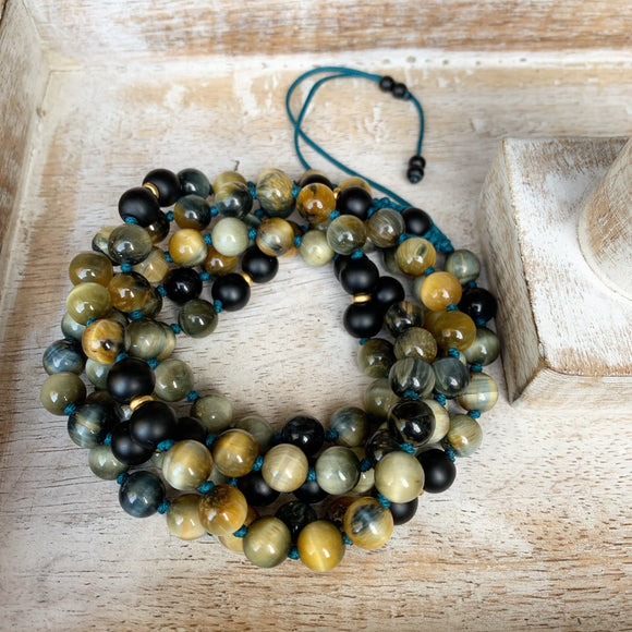 Blue Tiger's eye and Matte Black Onyx Adjustable Mala
