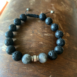 Lava & Labradorite Adjustable Beaded Bracelet