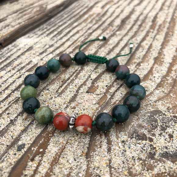 Bloodstone & Red Jasper 8mm Adjustable Beaded Bracelet with Silver Accents