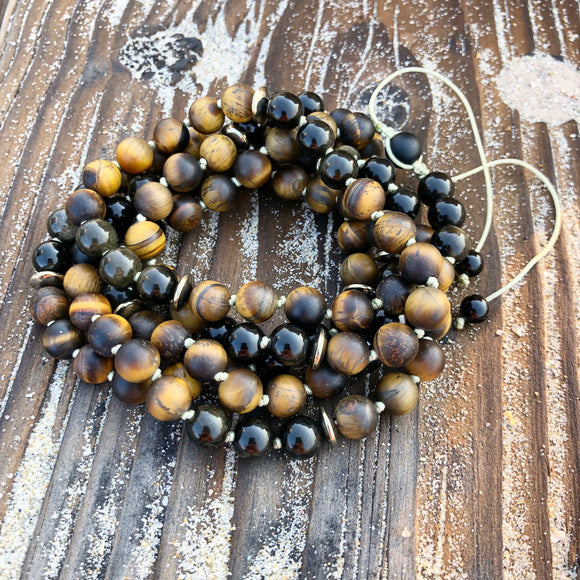 Matte Tiger's Eye, Obsidian & Hematite Adjustable Mala