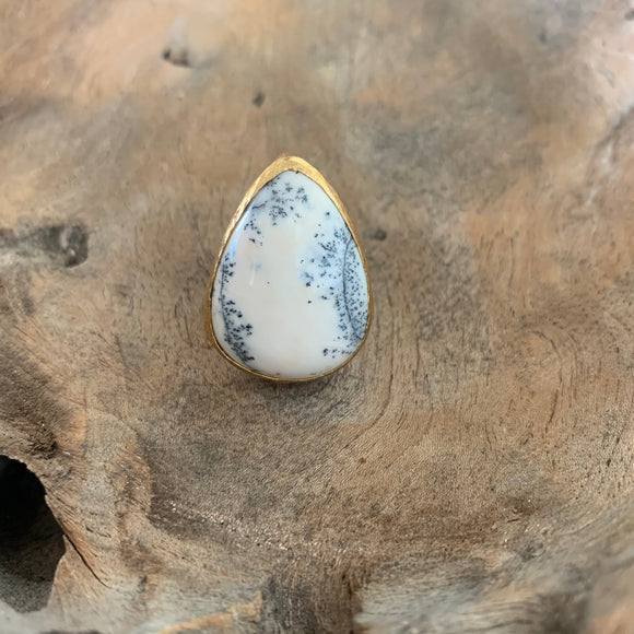 Merlinite Opal Ring in Gold