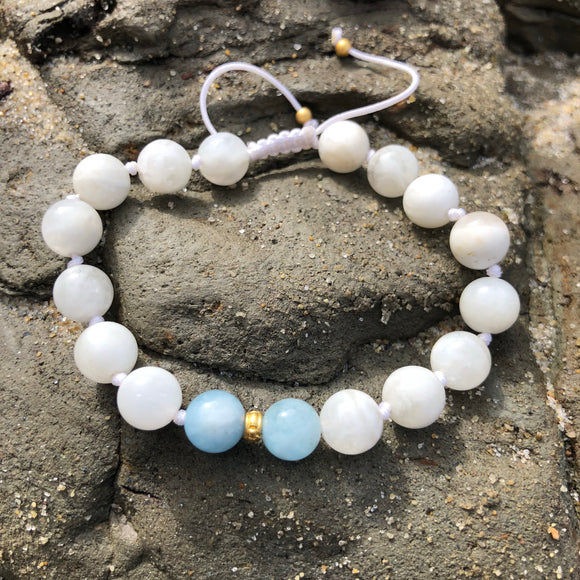 Moonstone & Aquamarine 8mm Adjustable Beaded Bracelet with Gold Accents