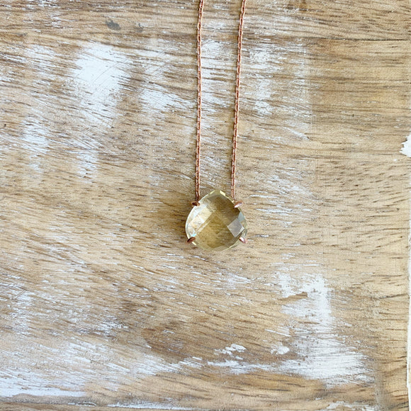 Silver- Citrine Dainty Sterling Silver Necklace in Rose Gold