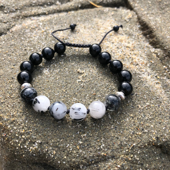 Black Tourmaline & Tourmalinated Quartz 8mm Adjustable Beaded Bracelet with Silver Accents