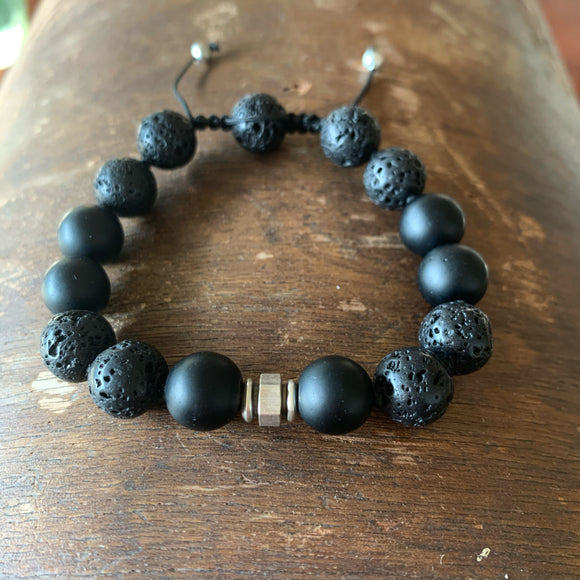 Matte Black Onyx & Lava Adjustable Beaded Bracelet
