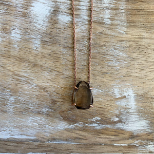 Silver- Smokey Quartz Dainty Sterling Silver Necklace in Rose Gold