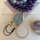 Fluorite & Amethyst One of a Kind Mala with Fluorite Guru Bead