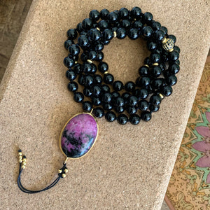 Black Tourmaline Mala with Ruby Zoisite Guru Bead
