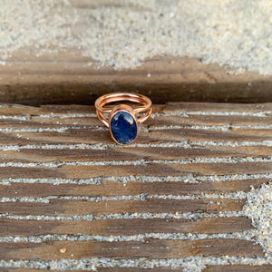 Blue Kynite Ring in Rose Gold