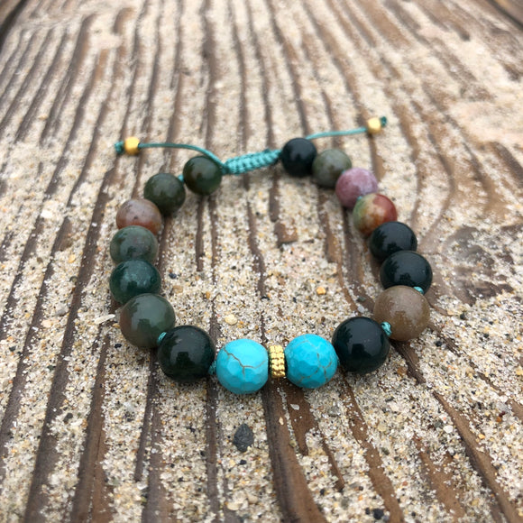 Indian Agate & Faceted Turquoise 8mm Adjustable Beaded Bracelet with Gold Accents