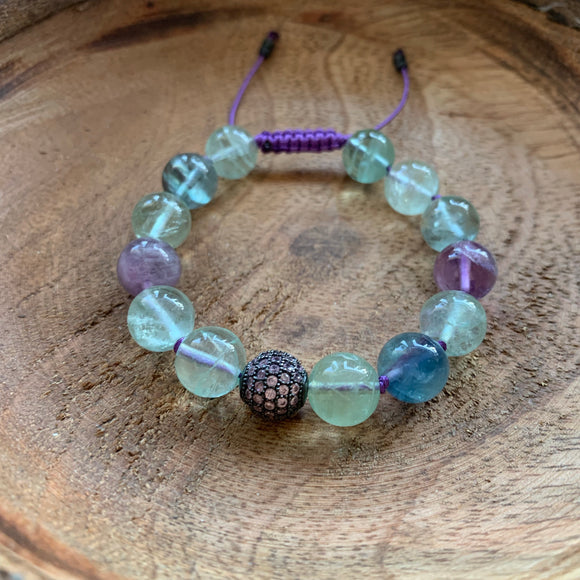 Fluorite Adjustable 10mm Beaded Bracelet with Pink Crystal Accent Bead