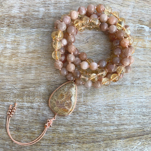 Sunstone and Citrine Mala with star Jasper Guru Bead
