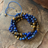 Lapis Lazuli & Matte Tiger's Eye Adjustable Mala Beads