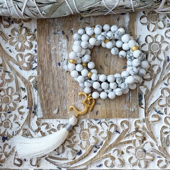 Howlite Mala with OM Guru Bead