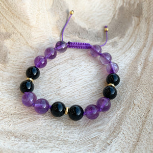 Black Onyx and Amethyst Adjustable Beaded Bracelet
