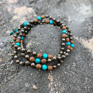 Pyrite, Turquoise and Agarwood Adjustable Mala