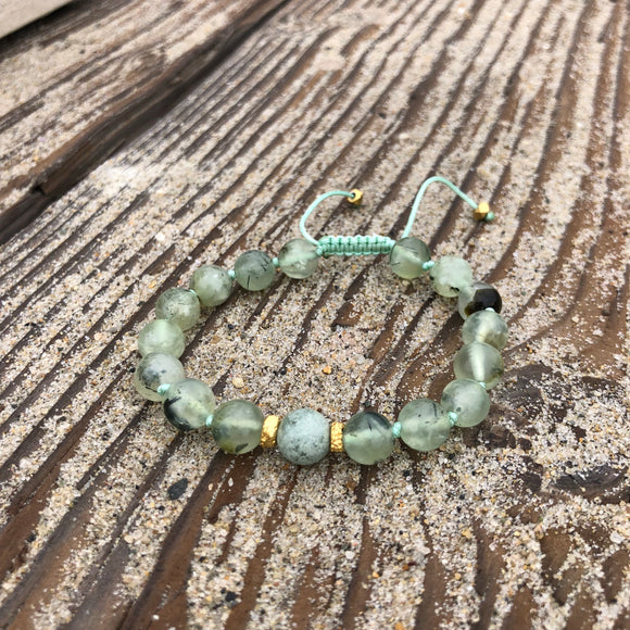Prehnite & Ocean Jasper Adjustable Beaded Bracelet