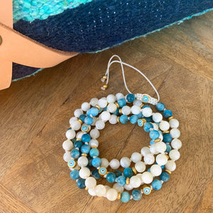 Apatite & White Shells Adjustable Mala with Eye of Protection Beads 6mm