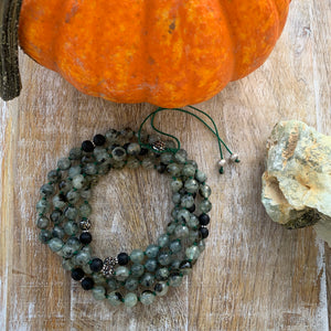 Matte Black Onyx, Prehnite Adjustable Mala with Hematite Guru Bead